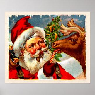 Santa con el reno póster