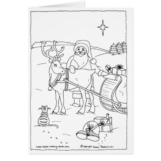 Santa con el reno tarjeta de felicitación