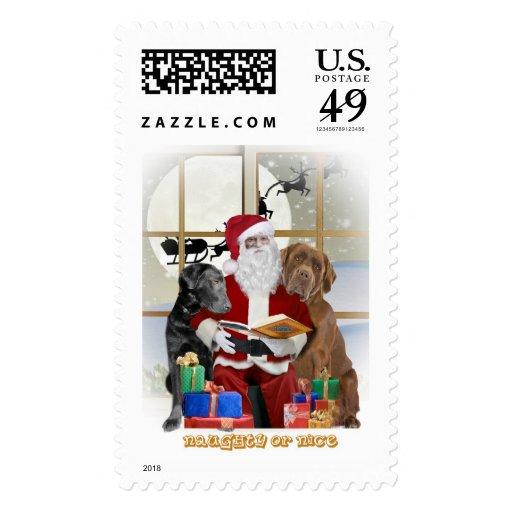 Santa con franqueo del navidad del labrador retrie