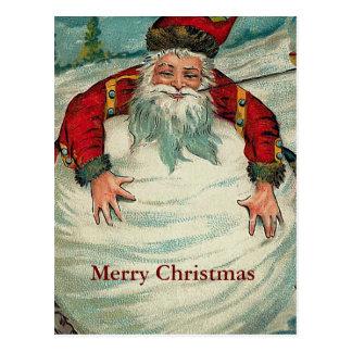 Santa con la bola de nieve gigante tarjeta postal