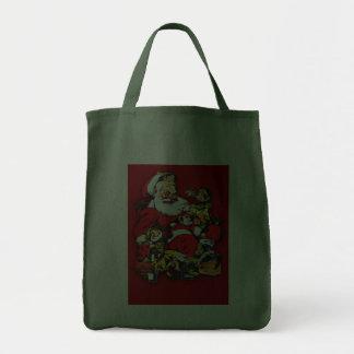 Santa con la bolsa de asas de los duendes
