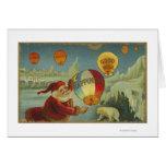 Santa con la felicidad Baloon Tarjeta