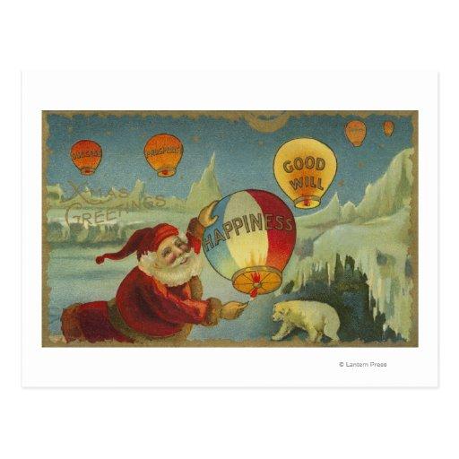Santa con la felicidad Baloon Tarjetas Postales