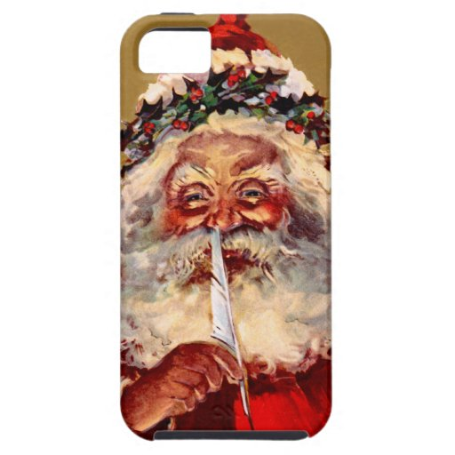 Santa con la pluma funda para iPhone 5 tough
