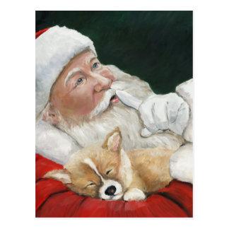 Santa con la postal del navidad del arte del perro