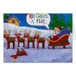 Santa con la tarjeta del reno