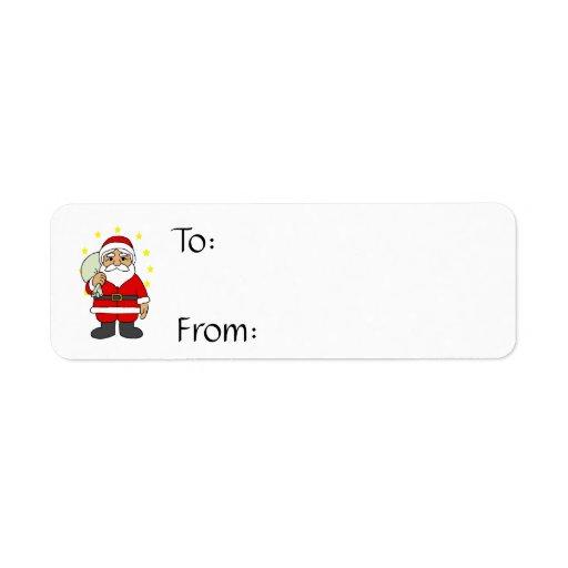 Santa con las estrellas etiqueta de remite