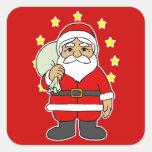 Santa con las estrellas colcomanias cuadradas personalizadas