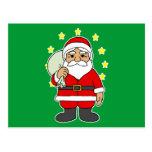 Santa con las estrellas tarjeta postal