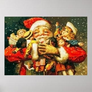 Santa con las muñecas póster
