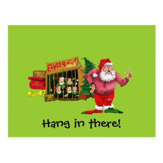 Santa con los duendes para el alquiler tarjeta postal