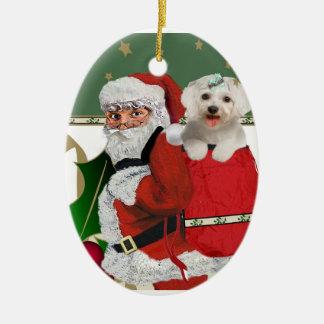 Santa con maltés en su bolso ornaments para arbol de navidad