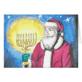 Santa con Menorah Tarjeta De Felicitación