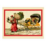 Santa con su carro tarjeta postal