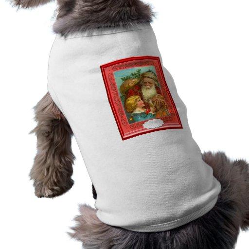 Santa con un chica en su rodilla camisa de mascota