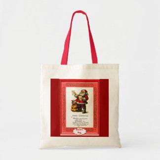 Santa con un poema bolsa tela barata