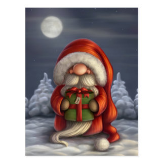 Santa con un regalo tarjeta postal