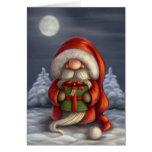 Santa con un regalo tarjetas