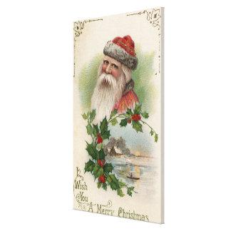 Santa con una escena del lago impresión en lienzo