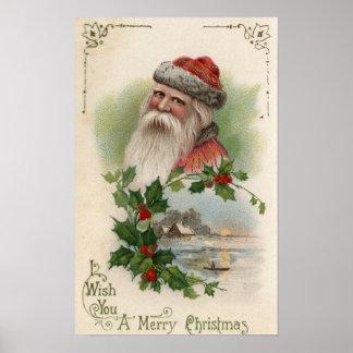 Santa con una escena del lago póster