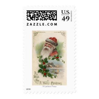 Santa con una escena del lago sellos postales