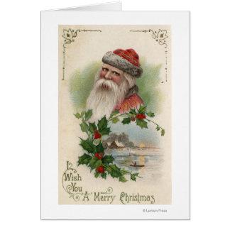 Santa con una escena del lago tarjeta de felicitación