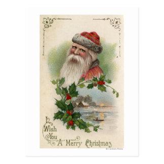 Santa con una escena del lago tarjeta postal
