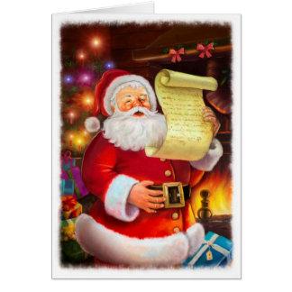 Santa con wishlist tarjeta de felicitación