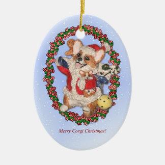Santa Corgi with puppy Ornament