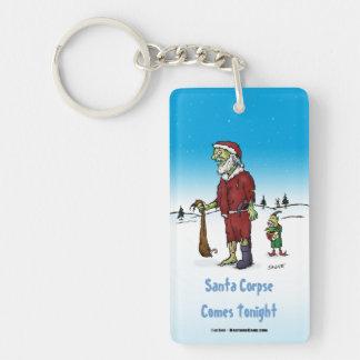 Santa Corpse Funny Zombie Cartoon Keychain