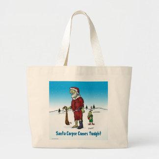 Santa Corpse Funny Zombie Cartoon Large Tote Bag