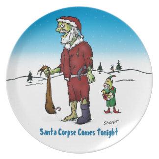 Santa Corpse Funny Zombie Cartoon Melamine Plate