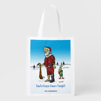 Santa Corpse Funny Zombie Cartoon Reusable Grocery Bags