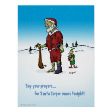 Santa Corpse Zombie Cartoon Poster