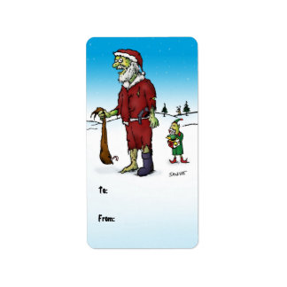 Santa Corpse Zombie Gift Labels