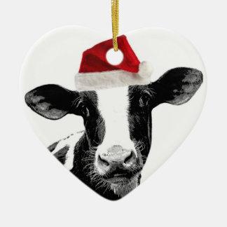 Santa Cow - Dairy Cow wearing Santa Hat Ceramic Ornament
