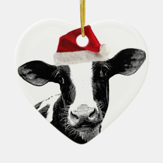 Santa Cow Dairy Cow Wearing Santa Hat Ceramic Ornament