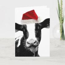 Santa Cow - Dairy Cow wearing Santa Hat Holiday Card