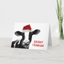 Santa Cow - Dairy Cow wearing Santa Hat Holiday Card
