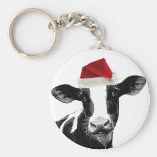 Santa Cow - Dairy Cow wearing Santa Hat Key Chains