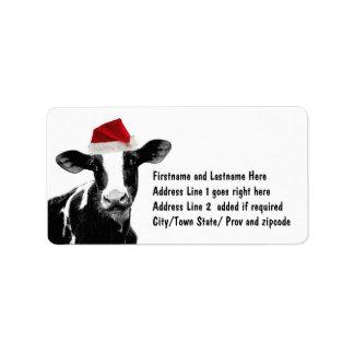 Santa Cow - Dairy Cow wearing Santa Hat Custom Address Labels