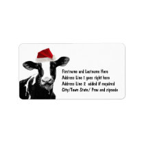 Santa Cow - Dairy Cow wearing Santa Hat Label