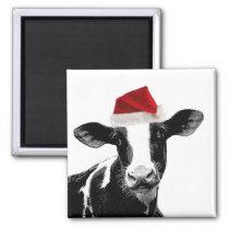 Santa Cow - Dairy Cow wearing Santa Hat Magnet