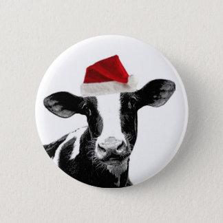 Santa Cow - Dairy Cow wearing Santa Hat Pinback Button