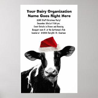 Santa Cow - Dairy Cow wearing Santa Hat Poster