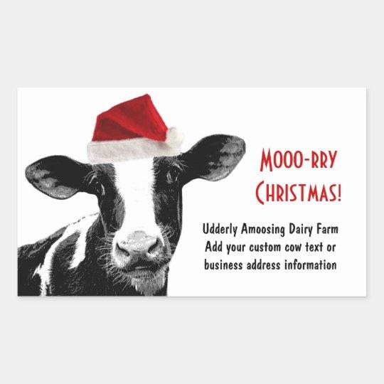 Santa Cow Dairy Cow Wearing Santa Hat Rectangular Sticker Zazzle Com