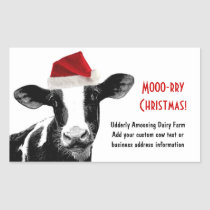 Santa Cow - Dairy Cow wearing Santa Hat Rectangular Sticker
