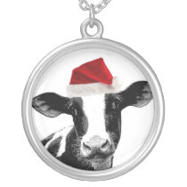 Santa Cow - Dairy Cow wearing Santa Hat Silver Plated Necklace
