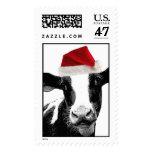 Santa Cow - Dairy Cow wearing Santa Hat Stamp