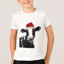 Santa Cow - Dairy Cow wearing Santa Hat T-Shirt